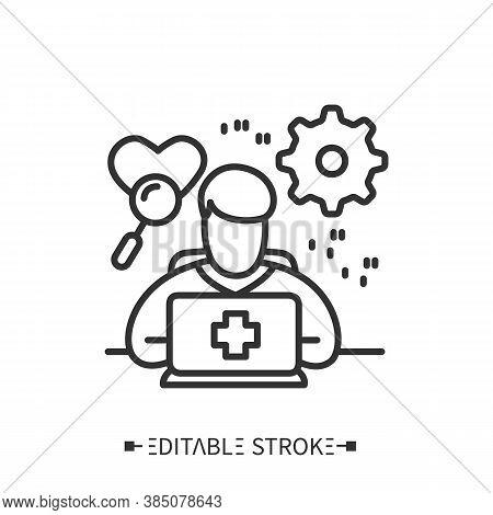 Medical Coder Line Icon. Specific Codes To Define Medical Procedures.digital Technologies In Medicin