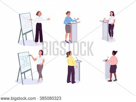 Women In Leadership Flat Color Vector Faceless Characters Set. Female Motivational Speaker. Business