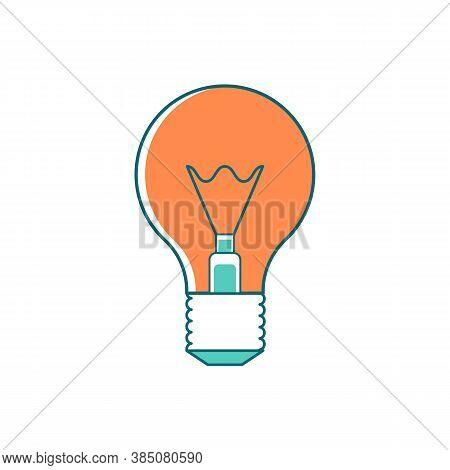 Light Bulb Flat Color Vector Object. Innovative Idea. Inspiration For Invention. Energy Efficient Li