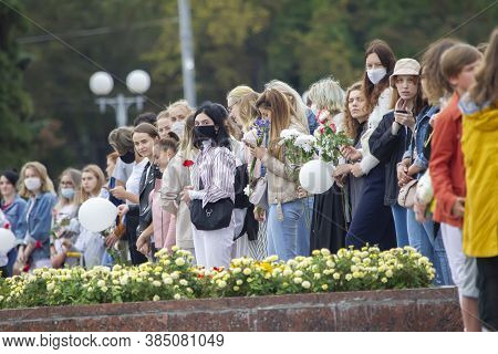 Belarus, Gomel, August 12, 2020. The Streets Of The City. Peoples Protest Against Lukashenka. A Peac