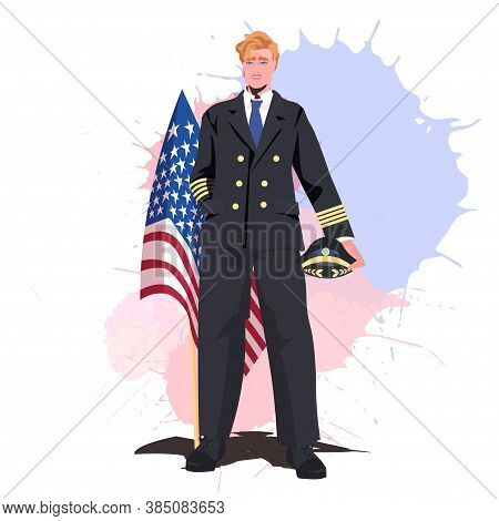 Pilot In Uniform Holding Usa Flag Happy Labor Day Celebration Concept Full Length Vector Illustratio