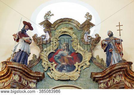 VUGROVEC, CROATIA - MAY 07, 2014: St. Catherine of Alexandria, altarpiece on the altar of St. Joseph in the parish church of St. Francis Xavier in Vugrovec, Croatia