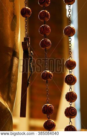 ZAGREB, CROATIA - JULY 27, 2012: Rosary at Mary Queen of the Holy Rosary Parish Church in Zagreb, Croatia