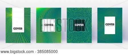 Hipster Brochure Design Template Set. Green Abstract Lines On Dark Background. Amazing Brochure Desi