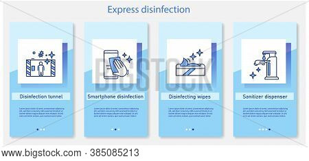 Express Disinfection Onboarding Mobile App Page Screens. Disinfication Tunnels, Smartphone Cleaning,