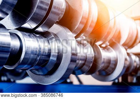 Metal Sheet Forming Machine At The Modern Metalwork Factory.