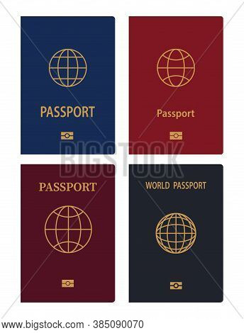 Vector Passports Isolated On White Background. Passport Document Id. International Pass For Tourism