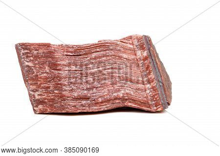 Macro Mineral Stone Bull Eye, Tiger's Eye In The Breed On A White Background