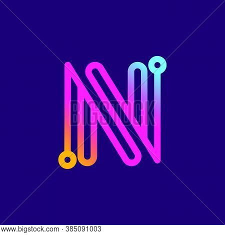 Multicolor N Letter Logo Made Of Electric Wire. This Rounded Striped Icon Can Be Used For Tech Ads,