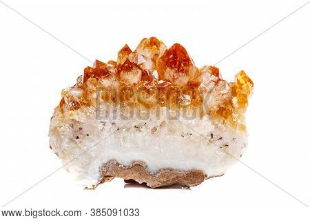 Macro Mineral Stone Citrine In Rock In Crystals On A White Background
