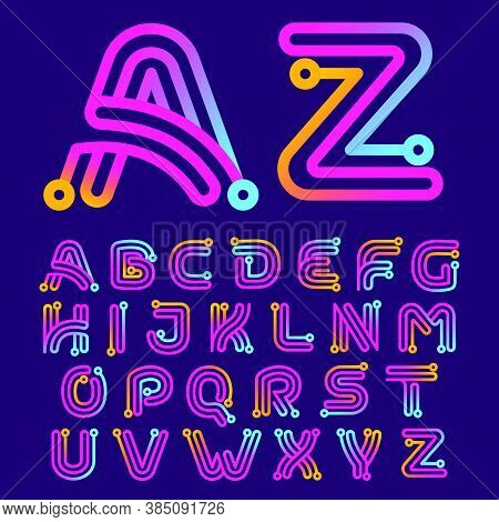 Multicolor Alphabet Made Of Electric Wire. This Rounded Striped Icon Can Be Used For Tech Ads, Solde