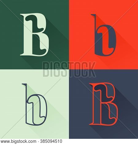 Classic B Letter Logo Set In Renaissance Style. Four Style Condensed Serif Font. Perfect To Use In A