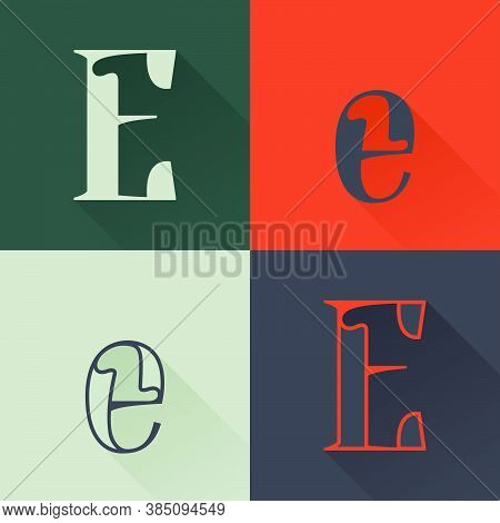 Classic E Letter Logo Set In Renaissance Style. Four Style Condensed Serif Font. Perfect To Use In A