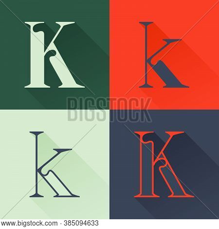 Classic K Letter Logo Set In Renaissance Style. Four Style Condensed Serif Font. Perfect To Use In A