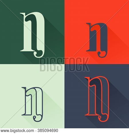 Classic N Letter Logo Set In Renaissance Style. Four Style Condensed Serif Font. Perfect To Use In A