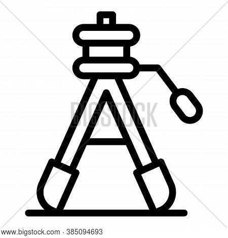 Builder Tripod Icon. Outline Builder Tripod Vector Icon For Web Design Isolated On White Background