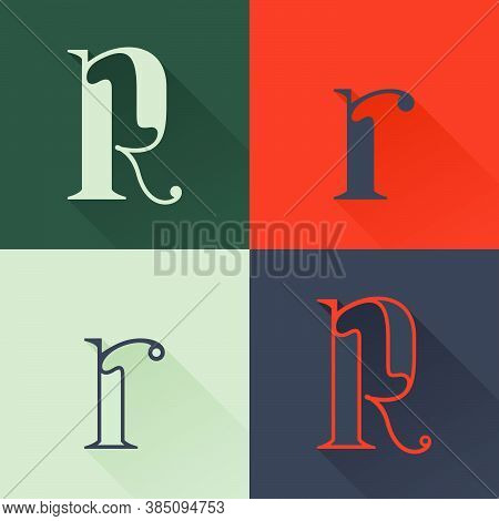 Classic R Letter Logo Set In Renaissance Style. Four Style Condensed Serif Font. Perfect To Use In A