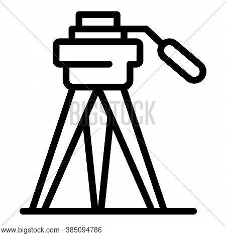 Photo Tripod Icon. Outline Photo Tripod Vector Icon For Web Design Isolated On White Background