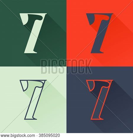 Classic Number Seven Logo Set In Renaissance Style. Four Style Condensed Serif Font. Perfect To Use