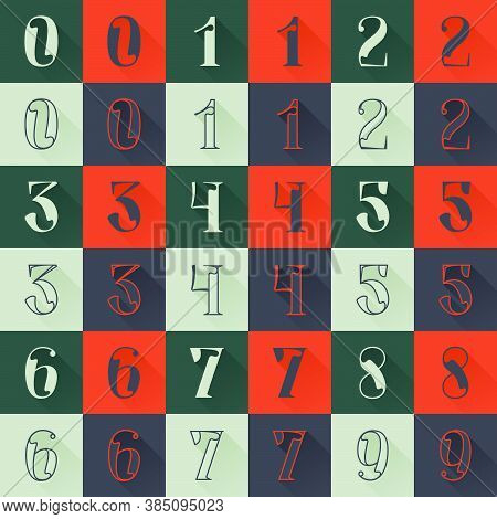 Classic Numbers Set In Renaissance Style. Four Style Condensed Serif Font. Perfect To Use In Any Fas