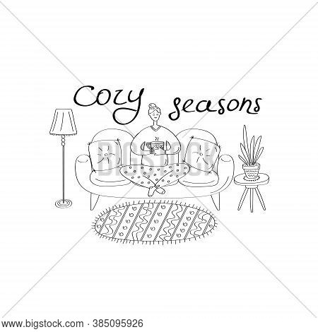 Cozy Seasons. Cute Young Woman Sitting On Sofa And Holding Cup Of Tea. Cozy Home Interior. Linear Ha