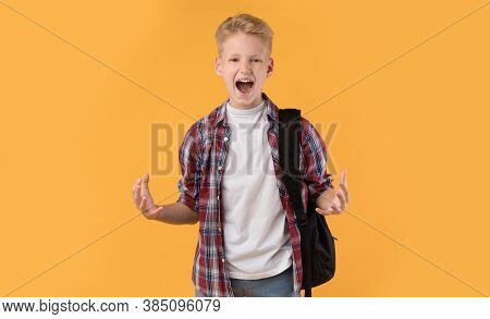 Reaction Concept. Angry Schoolboy Shouting, Looking At Camera, Gesturing With Hands In Air On Pastel