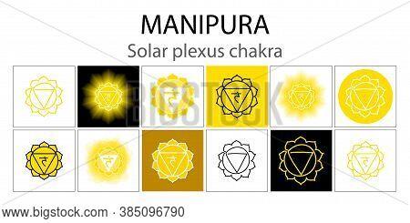 Manipura Icon Set. The Third Sun Chakra. Vector Yellow Gloss And Shine. One Line Symbol. Outline Sac