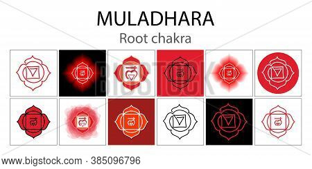 Muladhara Icon Set. The First Root Chakra. Vector Red Gloss And Shine. One Line Symbol. Outline Sacr