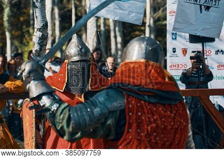 Reconstruction Of Knightly Battles. Simulation Of Medieval Battles During The Festival Of Historical