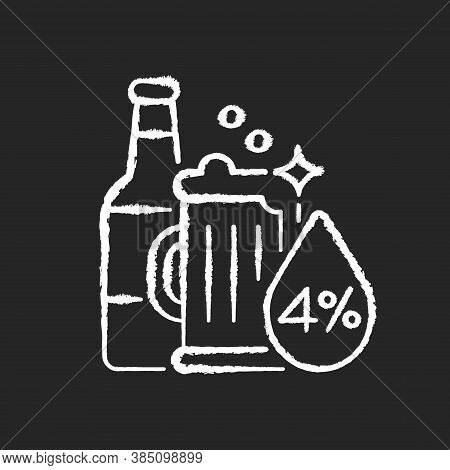 Alcohol Chalk White Icon On Black Background. Beverage In Bottle. Spirit With Alcoholic Percent. Bee