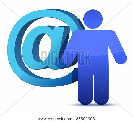 att mail sign and icon illustration over a white background poster