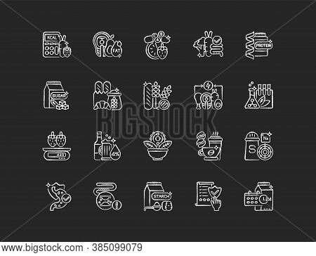 Healthy Eating Chalk White Icons Set On Black Background. Protein Supplement. Vitamin In Mineral. Fo
