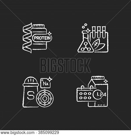 Food Supplements Chalk White Icons Set On Black Background. Protein Supplement For Body Building. So