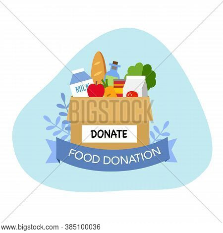 Sharing Food To People. Foos Donation. Boxes Full Of Food In Flat Design Vector Illustration On Whit