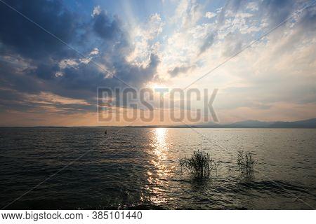 Sunset In Bardolino, Italy, Romantic, Vacation, Europe