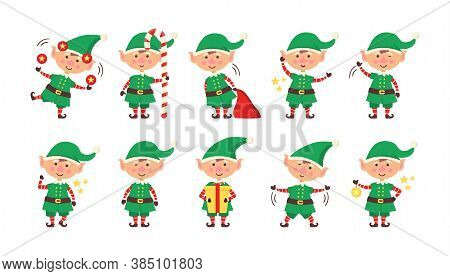 Smiling Elf Packing Gifts. Collection Of Christmas Elves Isolated On White Background. Funny And Joy