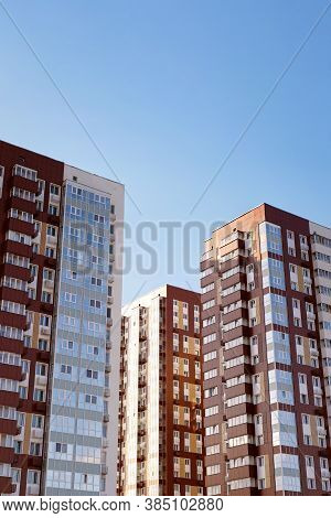 Modern High-rise Residential Buildings Against The Blue Sky. High Resolution Image. Copyspace.