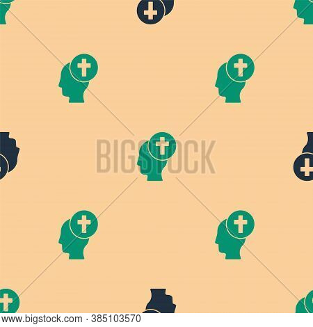 Green And Black Man Graves Funeral Sorrow Icon Isolated Seamless Pattern On Beige Background. The Em