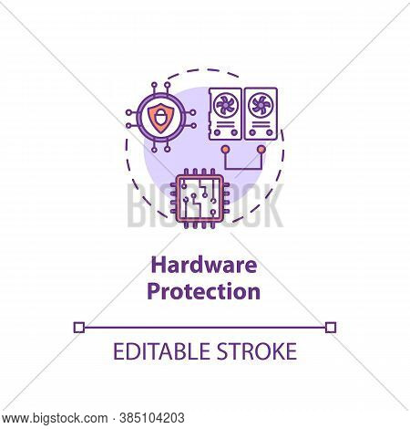 Hardware Protection Concept Icon. Cpu, Memory, Input-output Defence Idea Thin Line Illustration. Dua