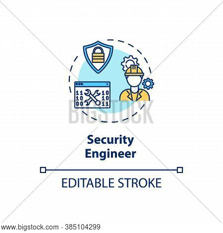 Security Engineer Concept Icon. Cybersecurity Career Idea Thin Line Illustration. Sensitive Data Pro