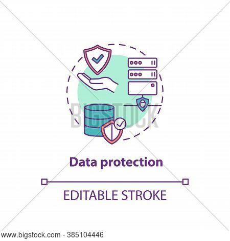 Data Protection Concept Icon. Safeguarding Important Information Idea Thin Line Illustration. Confid