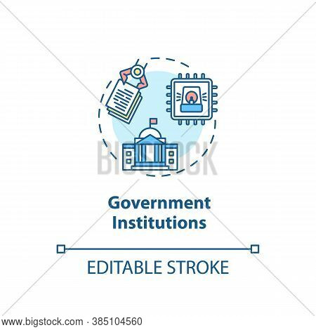 Government Institutions Concept Icon. Security Solutions. Cyber Threats Idea Thin Line Illustration.