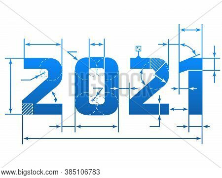 New Year 2021 Number With Dimension Lines. Element Of Blueprint Drawing In Shape Of 2021 Year. Vecto
