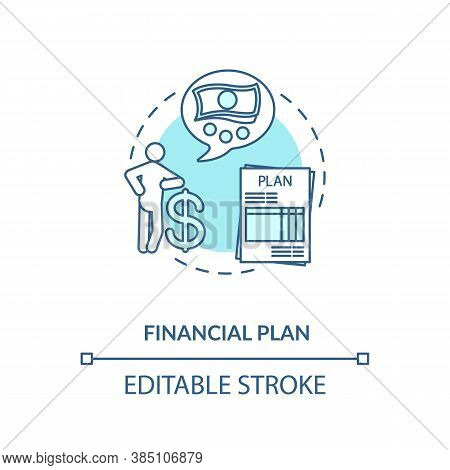Financial Plan Concept Icon. Money Earning Goal. Wealthy Future. Financial Advices. Economic Tips Id