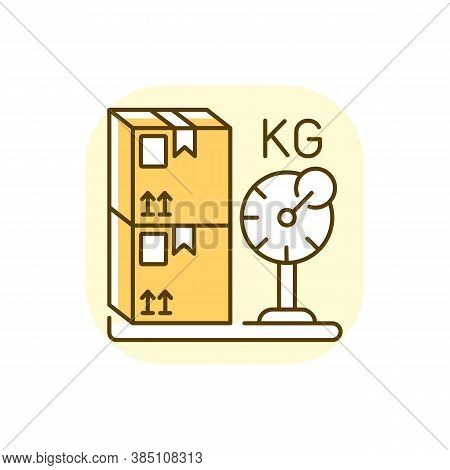 Cargo Weight Yellow Rgb Color Icon. Postal Service, Freight Transportation. Measuring Parcels Mass.