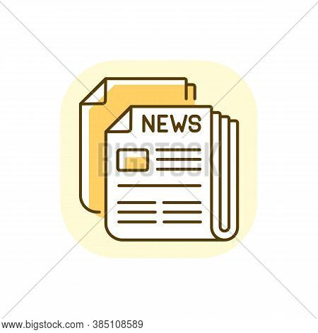 Newspaper Yellow Rgb Color Icon. Mass Media, Postal Service, Journalism. Daily Paper Delivery. Infor