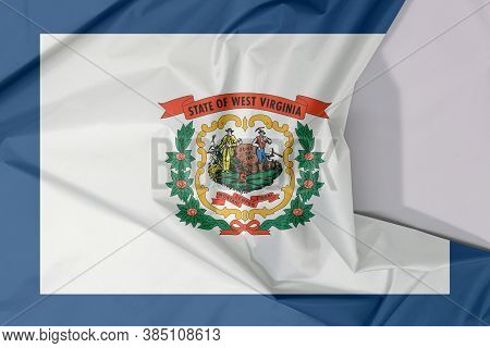 West Virginia Fabric Flag Crepe And Crease With White Space. A Pure White Field Bordered On Four Sid