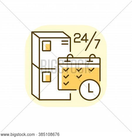 Schedule Package Pickup Yellow Rgb Color Icon. Mail Service Organization, Postal Logistics. Parcel A