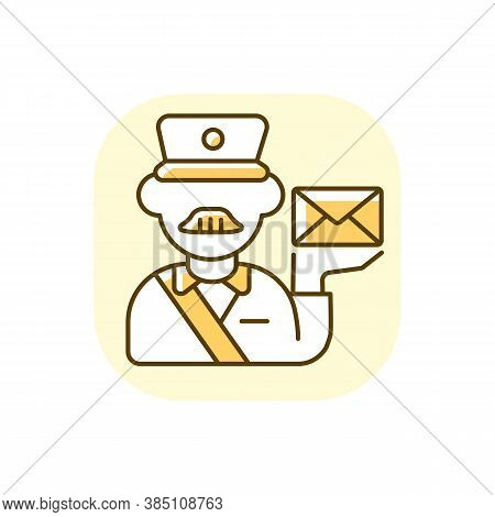 Postman Yellow Rgb Color Icon. Professional Mailman, Mail Deliverer. Postal Service, Courier Deliver