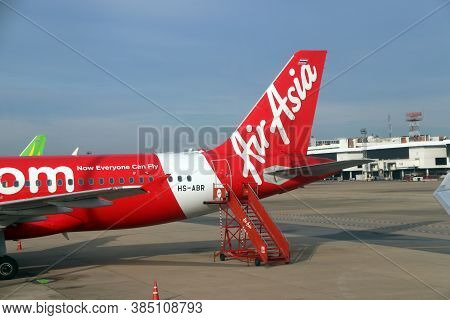 Don Muang, Bangkok, Thailand, June 6, 2018 : The Tail Of The Plane Of Thai Airasia, Airbus A320  Is